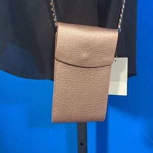 14th and Union Bags - Genuine leather Rose Gold Phone Crossbody.
